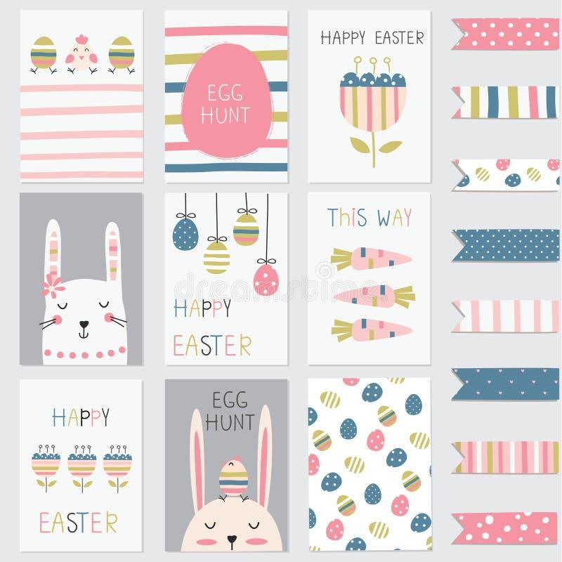 Поздравительные открытки пасхи установили с милыми кроликами, яичками, цветками иллюстрация штока