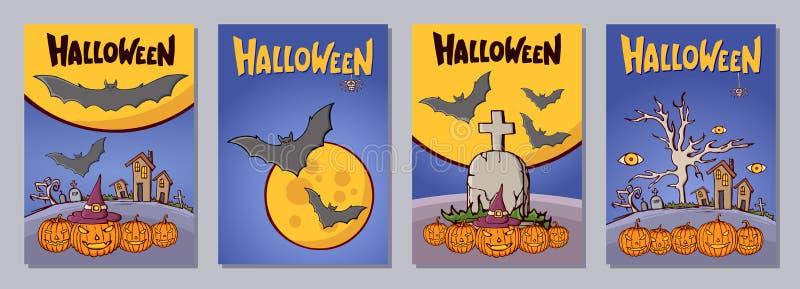 Поздравительные открытки приглашения или хеллоуина нарисованные рукой установили с latte бесплатная иллюстрация