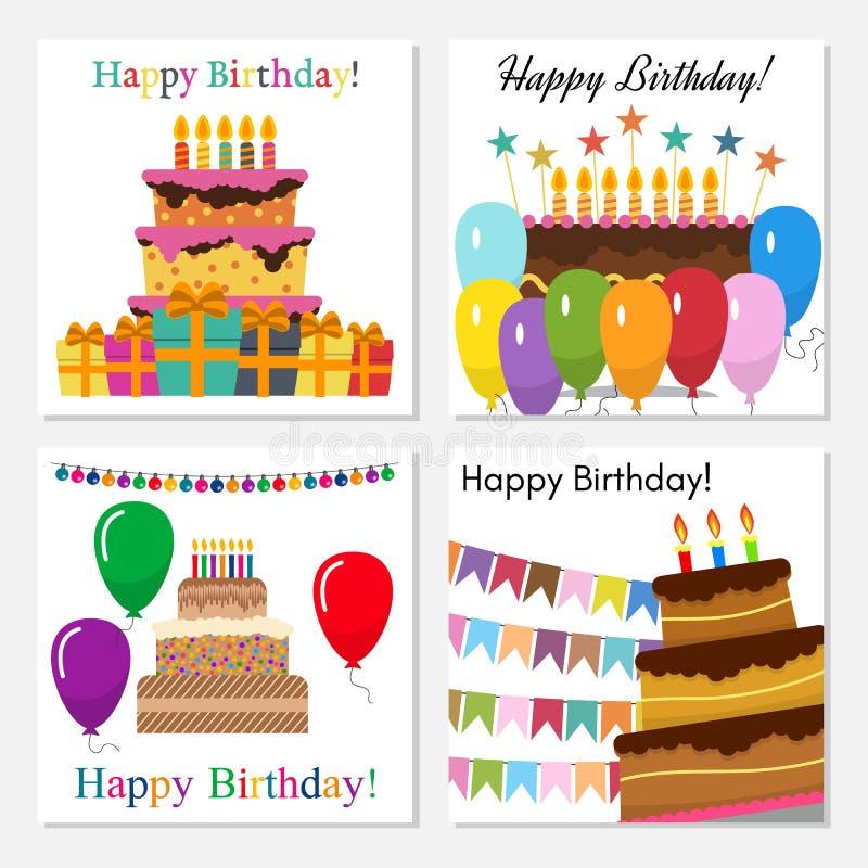 Поздравительные открытки со сладким тортом для торжества дня рождения иллюстрация вектора