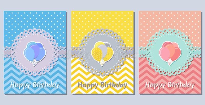 Поздравительые открытки ко дню рождения Шаблоны праздника также вектор иллюстрации притяжки corel стоковое изображение rf