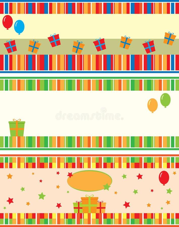 Поздравительые открытки ко дню рождения иллюстрация штока