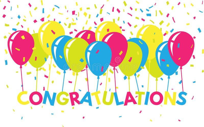 Поздравления красочные с confetti и воздушными шарами Плоское знамя приветствию Яркий текст для вебсайта, плаката, карточки иллюстрация штока