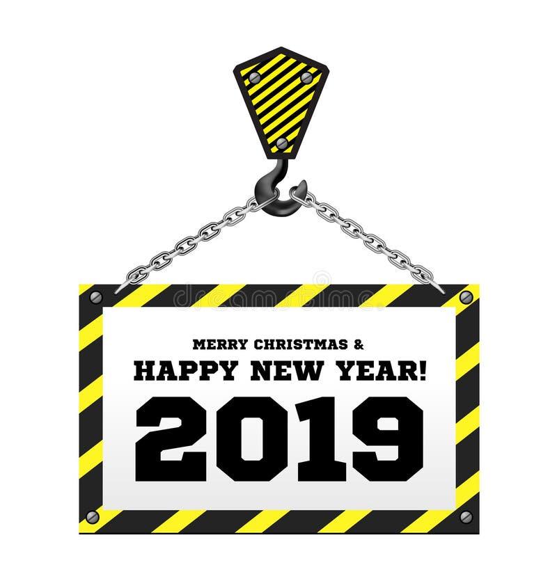 Поздравления к Новому Году 2019 на предпосылке крана конструкции бесплатная иллюстрация