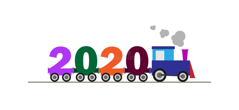 Поздравления на Новом Годе 2020 Поезд вытягивает автомобили из номеров бесплатная иллюстрация