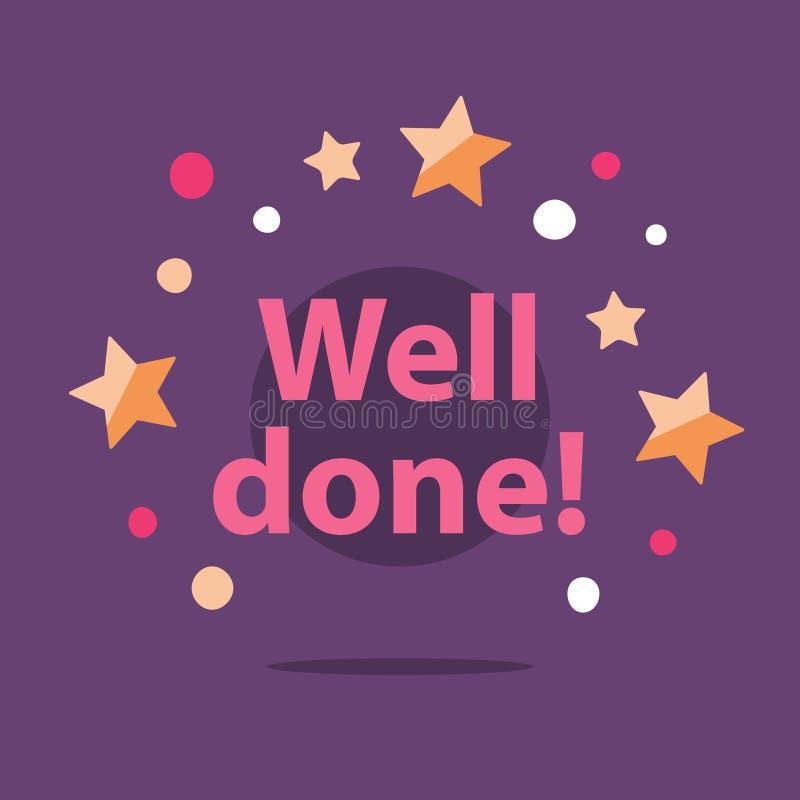 Поздравления сообщение формулируют, хорошо сделанное, поощрение и мотивировка, успешное выполнение иллюстрация вектора