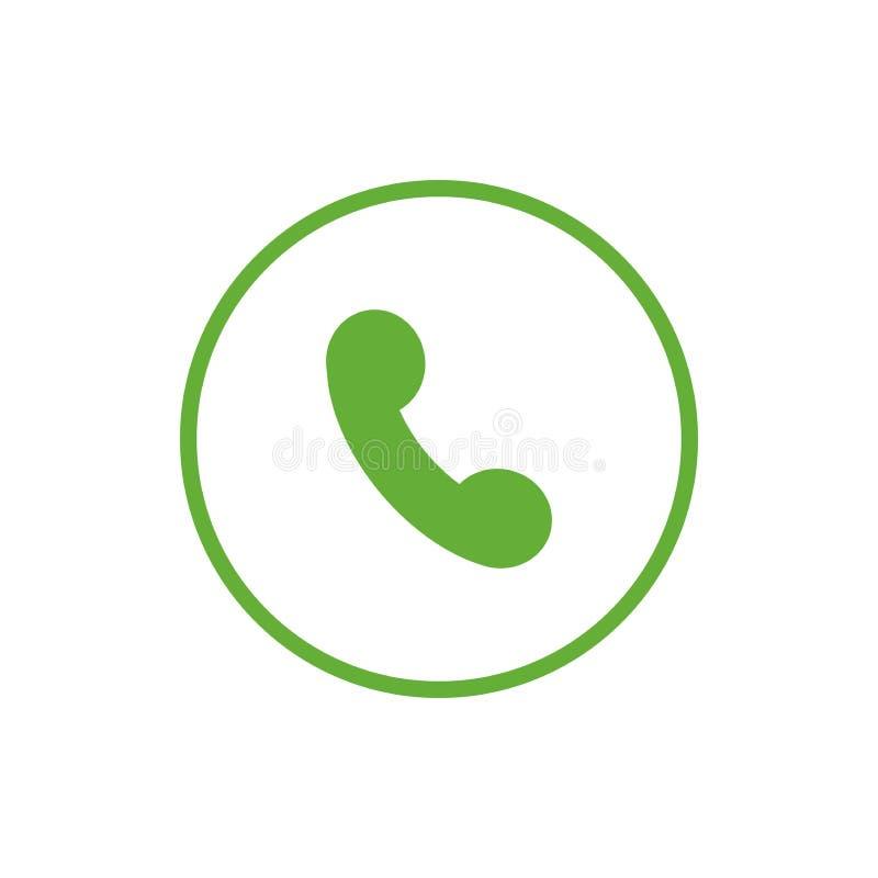 Позеленейте плоский значок трубки телефона в круге r иллюстрация штока