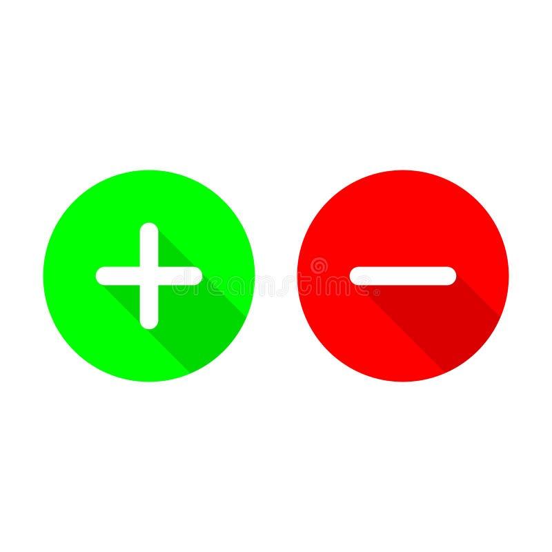Позеленейте плюс и красный цвет минус плоские значки вектора Символы круга добавляют и уничтожают знаки кнопки с длинной иллюстра иллюстрация штока