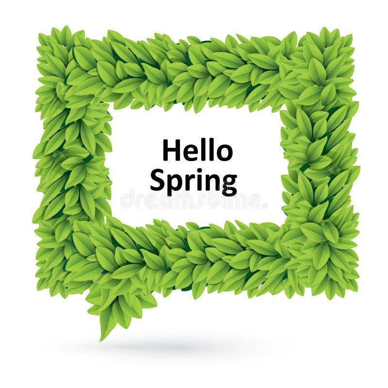Позеленейте пузырь речи весны листьев бесплатная иллюстрация