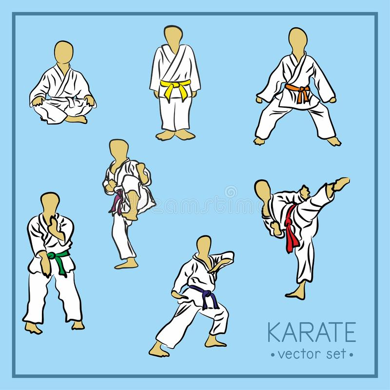 Позиции карате - набор значка вектора Безликие силуэты стойки Karatekas в различных представлениях, в белые одежды с пестротканым бесплатная иллюстрация