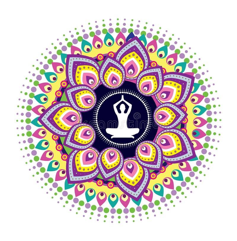 Позиция лотоса йоги иллюстрация вектора