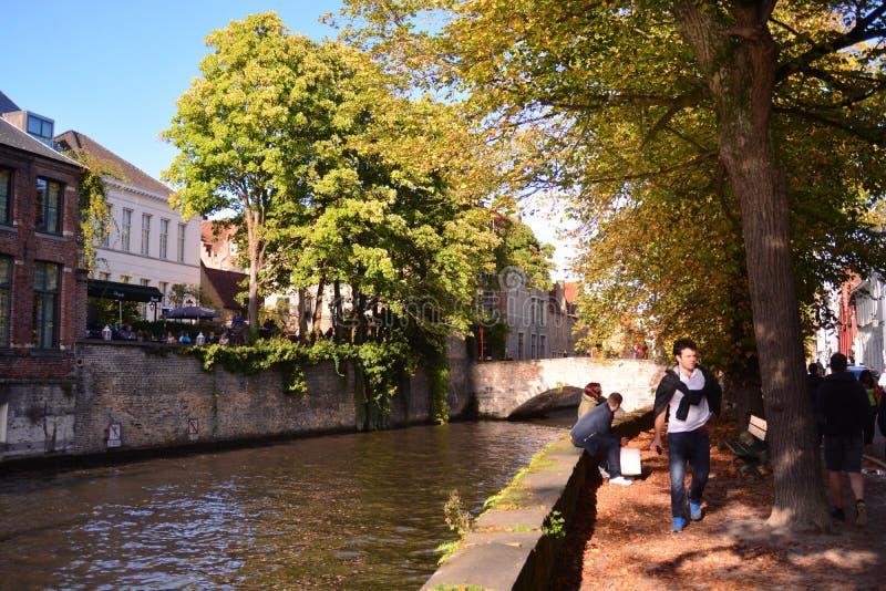 Позыв посетить Брюгге - Бельгию стоковое изображение rf