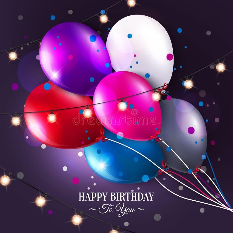 Поздравительая открытка ко дню рождения вектора с воздушными шарами и светами бесплатная иллюстрация