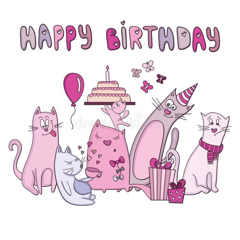 Поздравительая открытка ко дню рождения вектора с смешными котами бесплатная иллюстрация