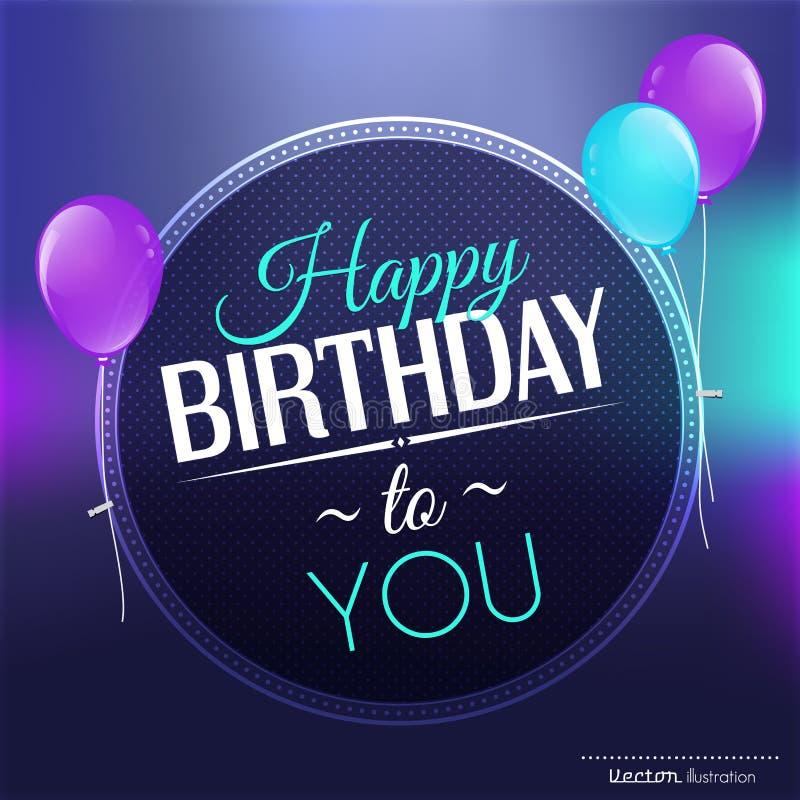 Поздравительая открытка ко дню рождения в ярких цветах бесплатная иллюстрация