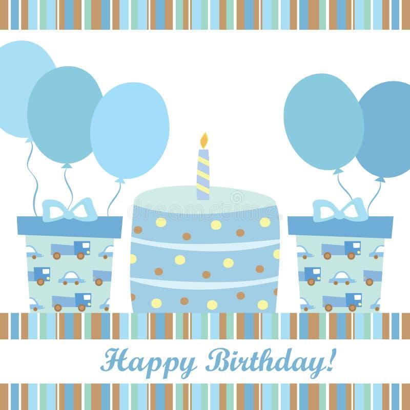 Поздравительая открытка ко дню рождения мальчика бесплатная иллюстрация