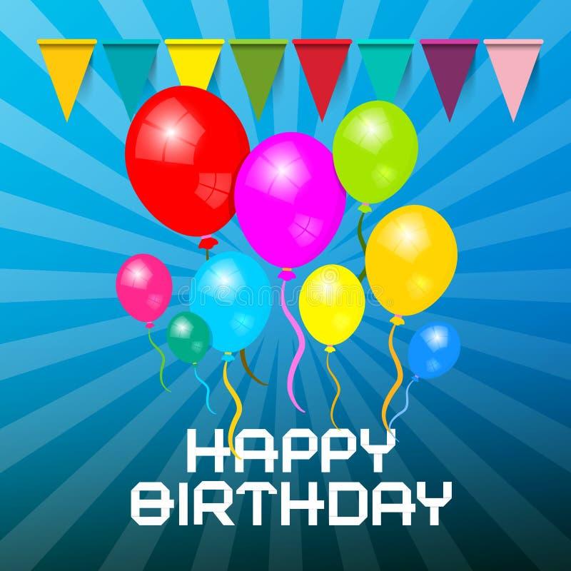 поздравительая открытка ко дню рождения счастливая Красочные воздушные шары с флагами иллюстрация вектора