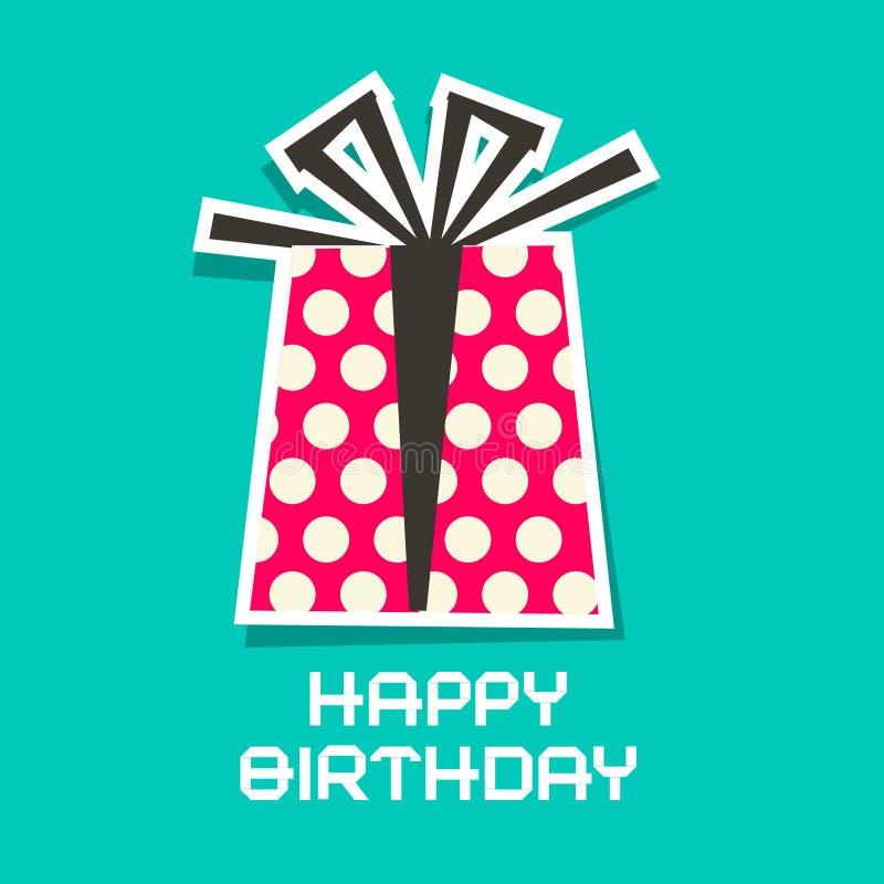 поздравительая открытка ко дню рождения счастливая Подарочная коробка вектора бумажная иллюстрация вектора