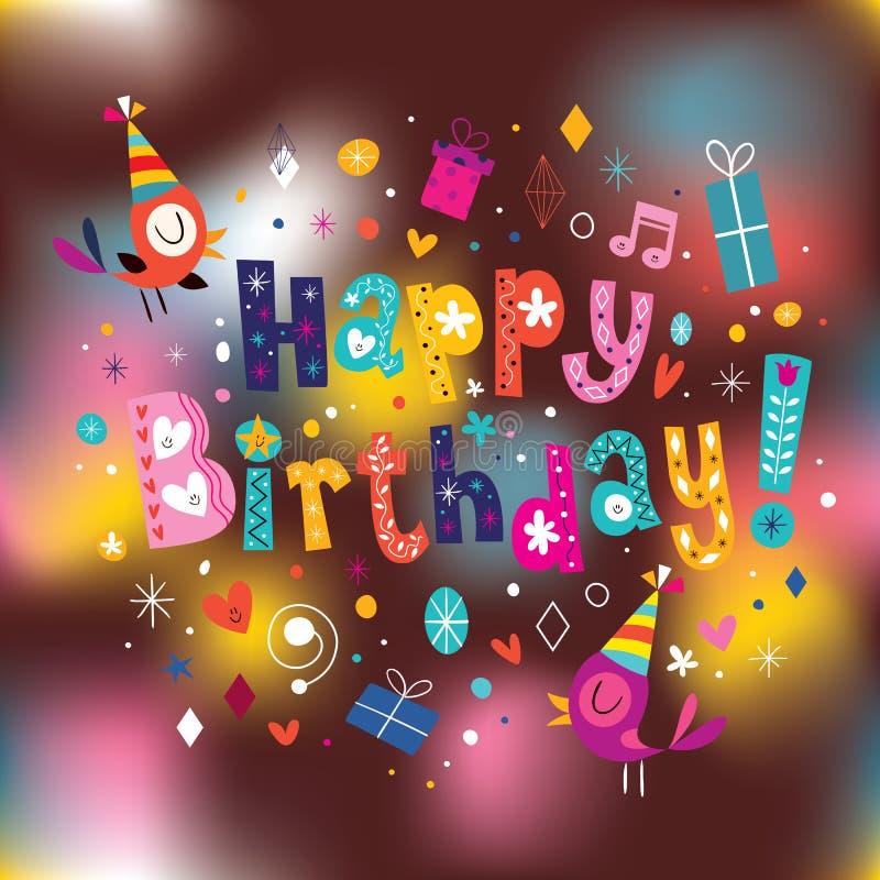 поздравительая открытка ко дню рождения счастливая иллюстрация штока