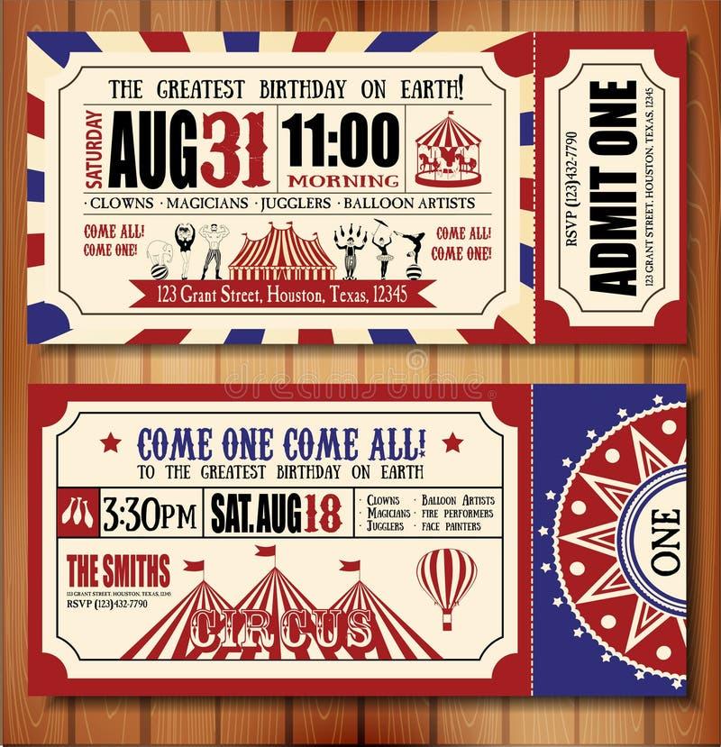Поздравительая открытка ко дню рождения с билетом цирка иллюстрация штока