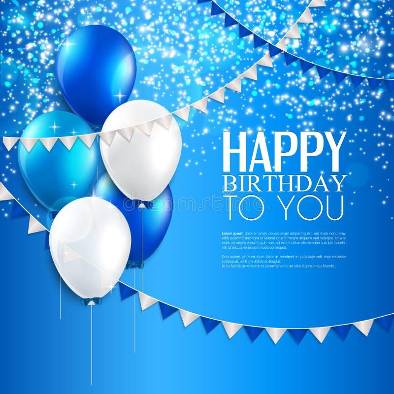 Поздравительая открытка ко дню рождения с воздушными шарами, и текст дня рождения иллюстрация штока