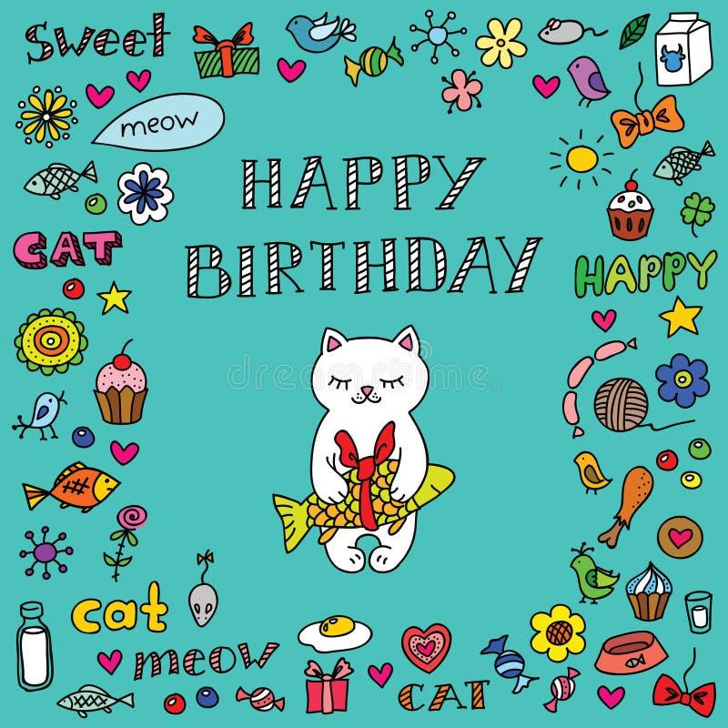 Поздравительая открытка ко дню рождения с котом иллюстрация штока