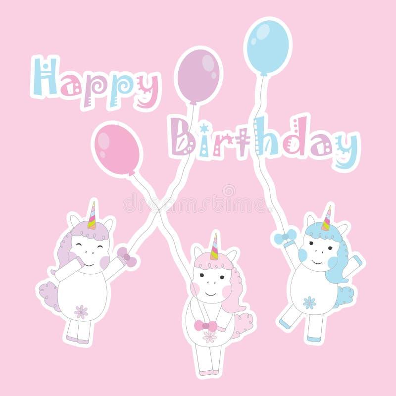 Поздравительая открытка ко дню рождения с милыми 3 девушками единорога приносит воздушные шары на розовой предпосылке для открытк бесплатная иллюстрация