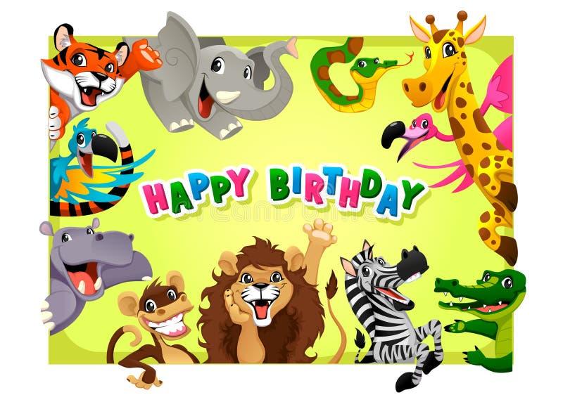 Поздравительая открытка ко дню рождения с днем рождений с животными джунглей иллюстрация вектора