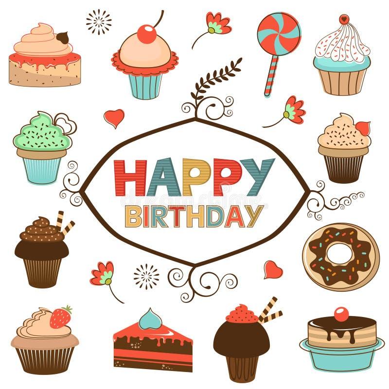 Поздравительая открытка ко дню рождения с днем рождений с помадками бесплатная иллюстрация