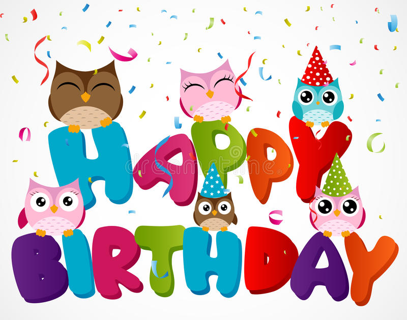 Поздравительая открытка ко дню рождения с днем рождений с сычом иллюстрация вектора