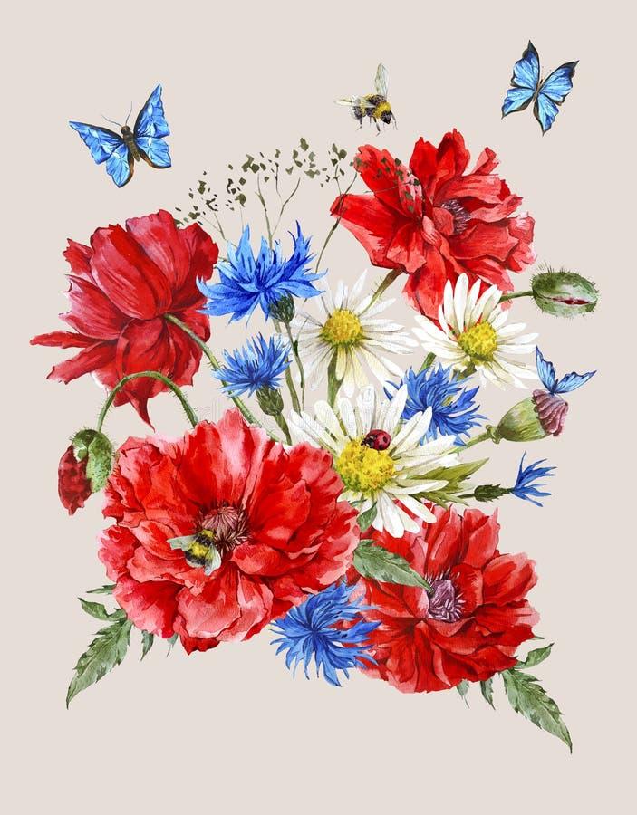 Поздравительная открытка акварели лета винтажная с бесплатная иллюстрация