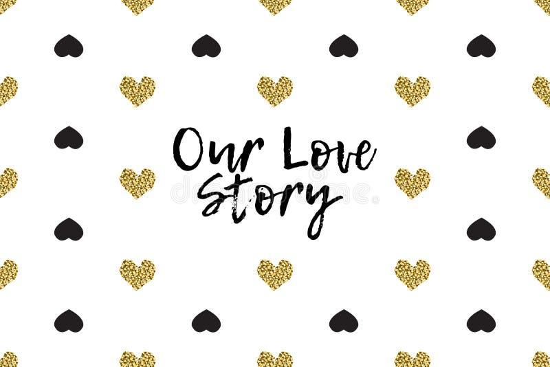 Поздравительная открытка валентинки с текстом, чернотой и сердцами золота иллюстрация вектора