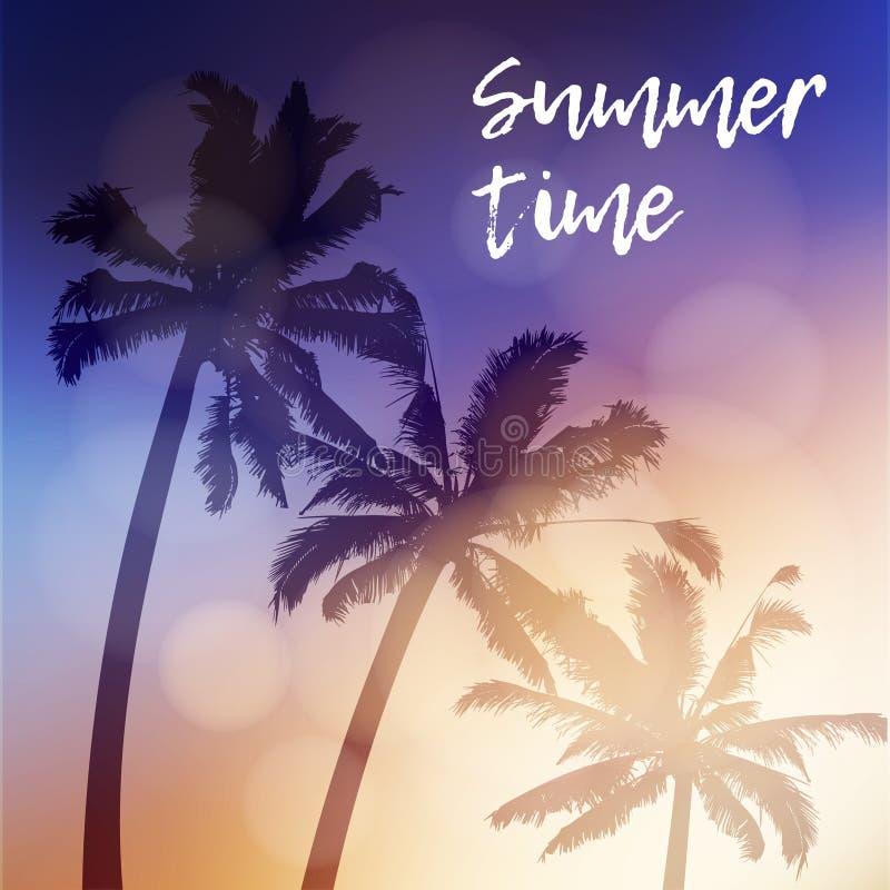 Поздравительная открытка временени, приглашение Силуэт пальм снова небо во время красивого захода солнца тропическо иллюстрация вектора