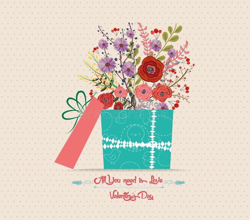 Download Поздравительная открытка влюбленности дня ` S валентинки с подарком цветков Иллюстрация штока - иллюстрации насчитывающей лоснисто, balletic: 81808007