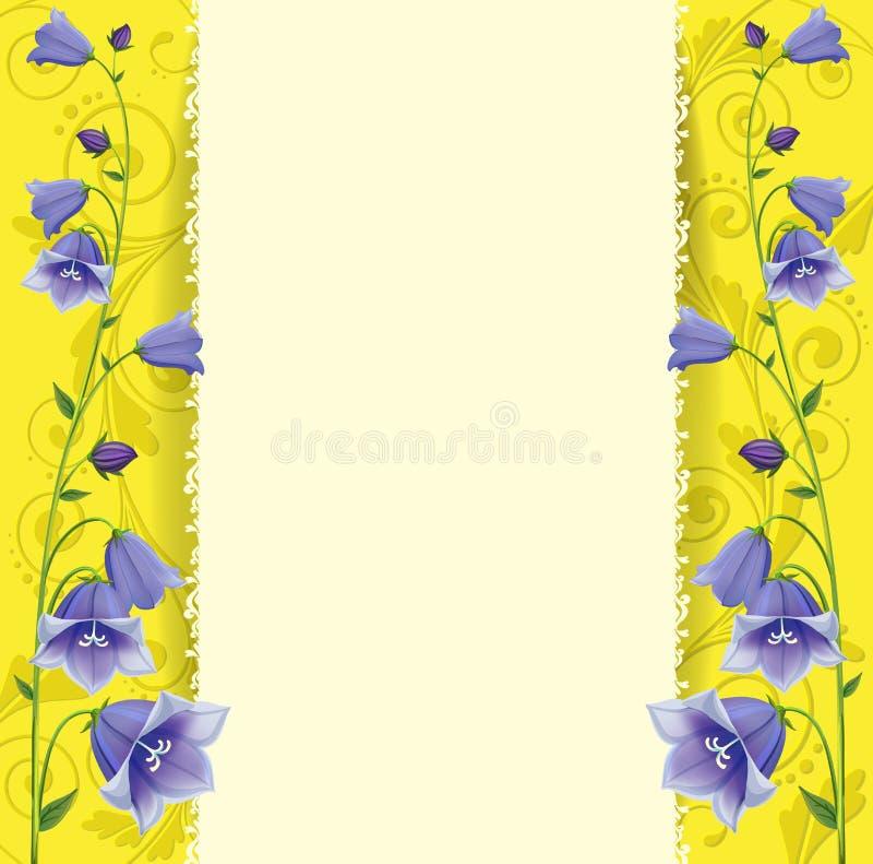 Поздравительная открытка, голубые колоколы на предпосылке золота стоковые изображения rf
