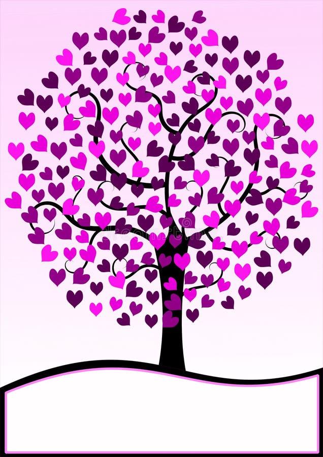 Поздравительная открытка дерева сердец бесплатная иллюстрация