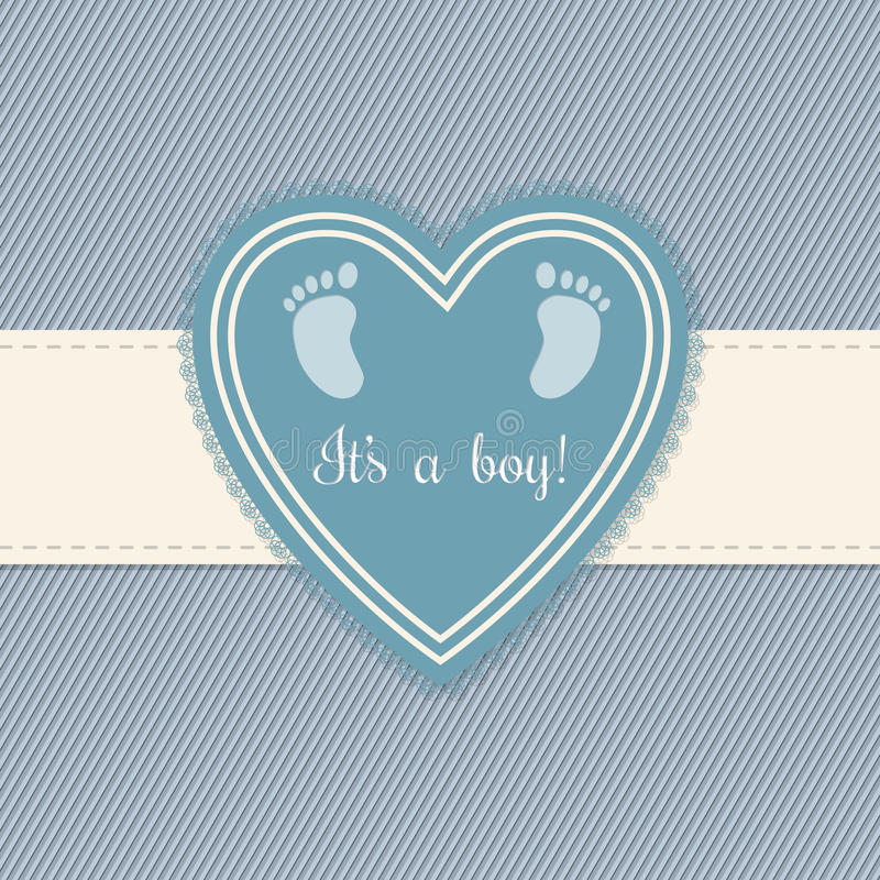 Поздравительная открытка детского душа для мальчиков иллюстрация штока
