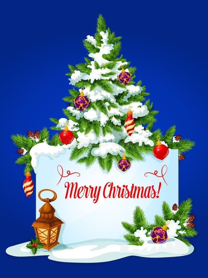 Поздравительная открытка зимних отдыхов рождественской елки бесплатная иллюстрация