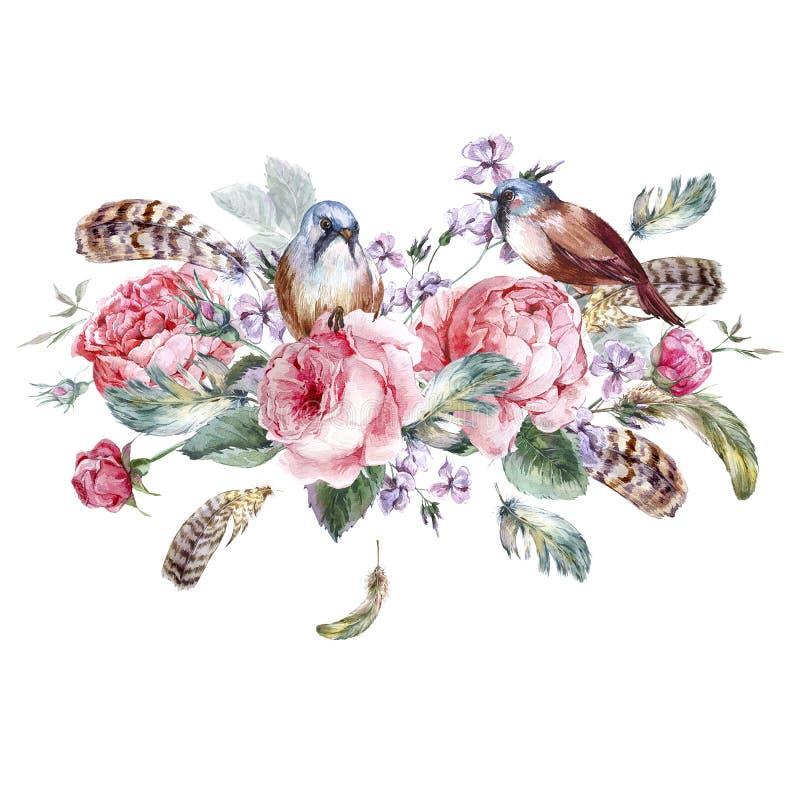 Поздравительная открытка классической акварели флористическая винтажная иллюстрация штока