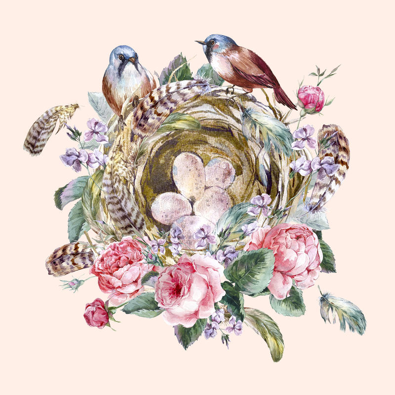 Поздравительная открытка классической акварели флористическая винтажная иллюстрация вектора