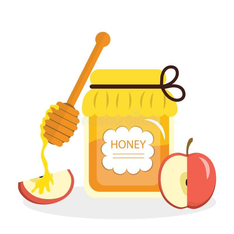 Поздравительная открытка меда и яблок на еврейский Новый Год Rosh Hashanah также вектор иллюстрации притяжки corel бесплатная иллюстрация