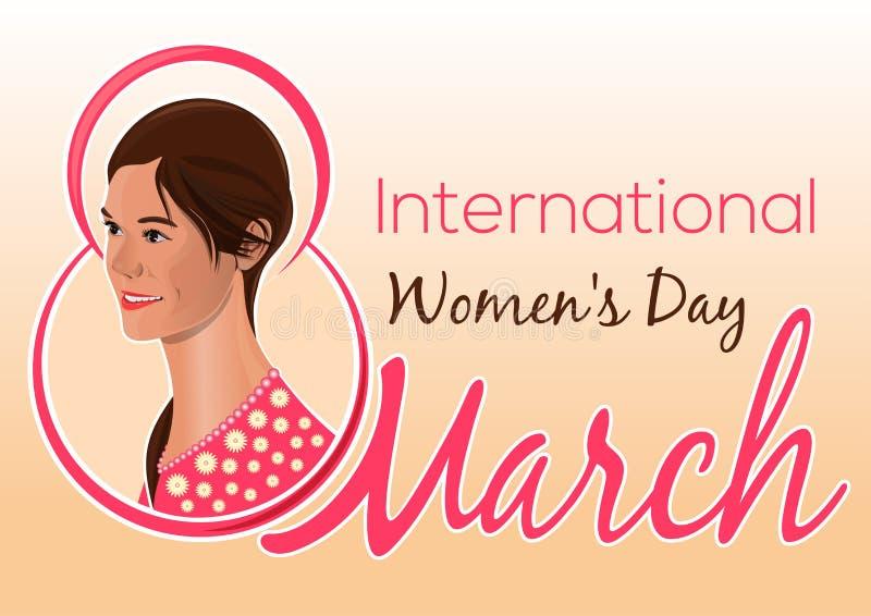 Поздравительная открытка на Международный женский день Симпатичная девушка на предпосылке поздравлений 8-ого марта иллюстрация вектора