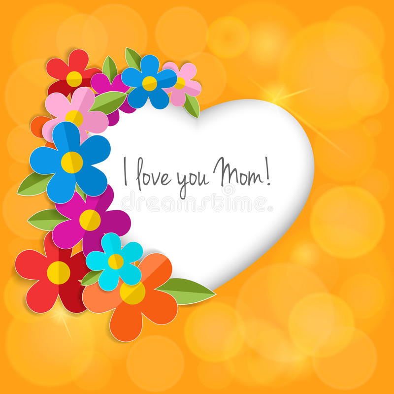 Поздравительная открытка на счастливый День матери Цветки 3d цвета бумажные внутри иллюстрация вектора