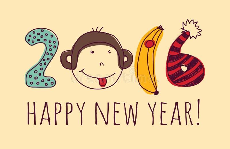 Поздравительная открытка Нового Года обезьяны стороны счастливая бесплатная иллюстрация
