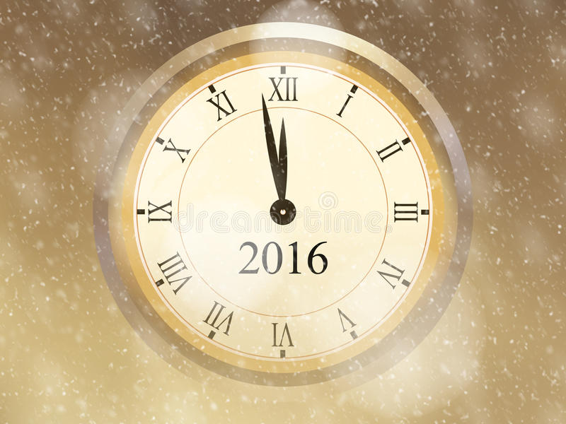 Поздравительная открытка 2016 Новых Годов с золотой предпосылкой, винтажными часами и падая снегом иллюстрация вектора