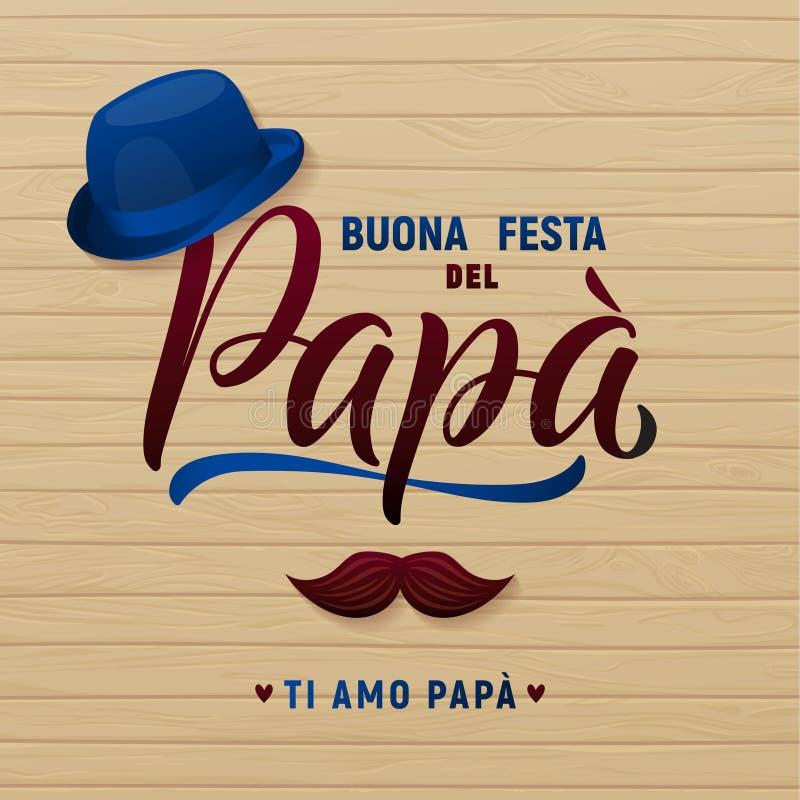 Поздравительная открытка дня отца s Шляпа и усик ретро тип также вектор иллюстрации притяжки corel бесплатная иллюстрация