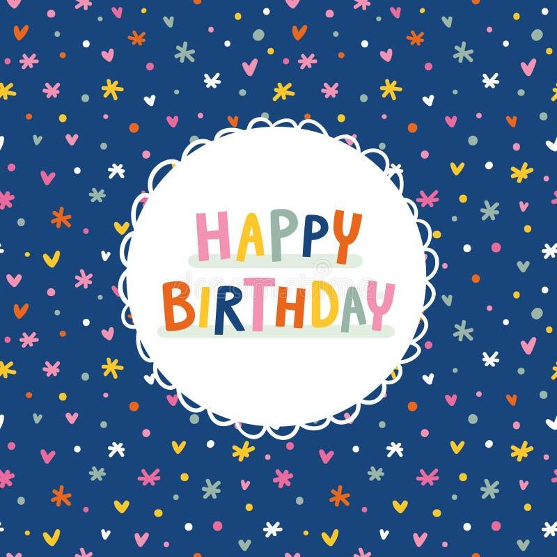 Поздравительная открытка дня рождения на темносиней безшовной картине иллюстрация штока