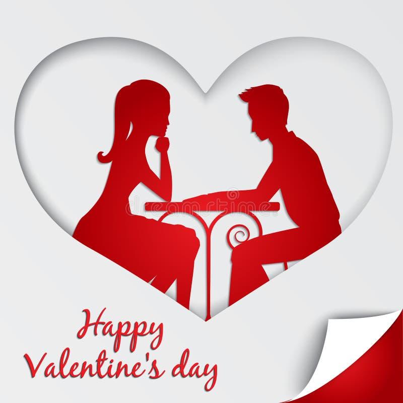 Поздравительная открытка дня ` s валентинки St Пары в влюбленности деля романтичный обедающий иллюстрация штока