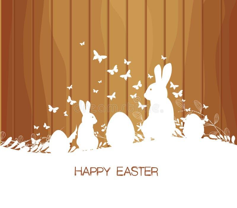 Поздравительная открытка пасхи с кроликом, подарком и светами на деревянной предпосылке иллюстрация штока