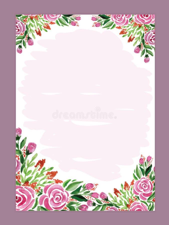 Поздравительная открытка, приглашение, знамя Рамка для вашего текста с flor бесплатная иллюстрация