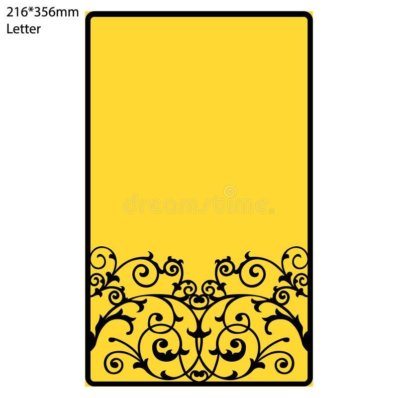 Поздравительная открытка приглашения или свадьбы с абстрактным орнаментом Шаблон конверта вектора для вырезывания лазера иллюстрация вектора